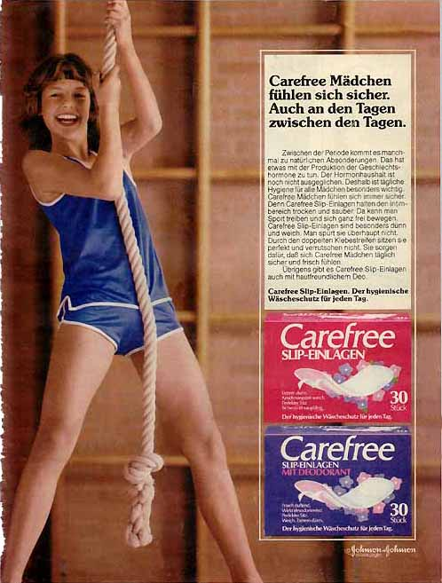 Carefree ads for panty liners, Germany, 1983 & 1989
