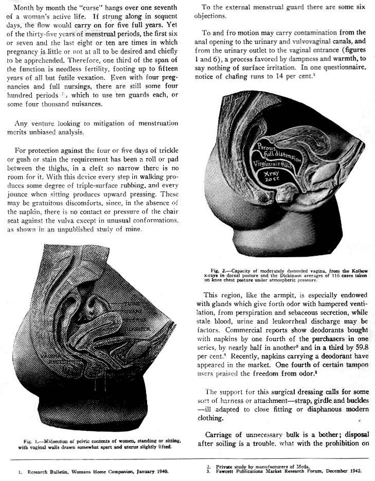 Tampons as menstrual guards, article (1945) by Dr  Robert Dickinson