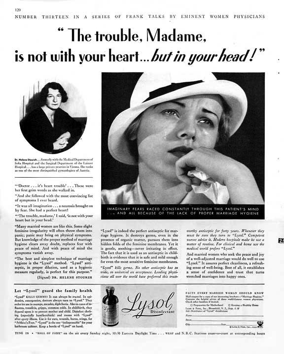 Lysol douche ads. Real history, y'all.   Oddities   Pinterest ...