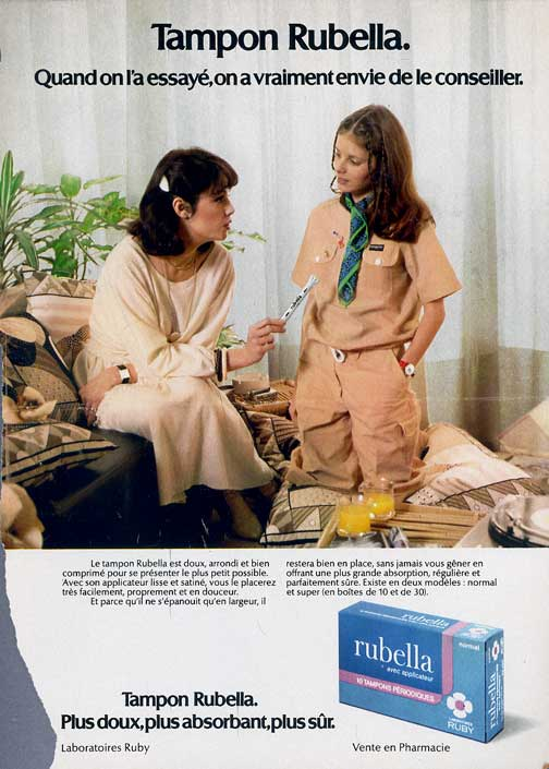 Ad for Rubella menstrual tampon, normal (regular) (France, date ?)