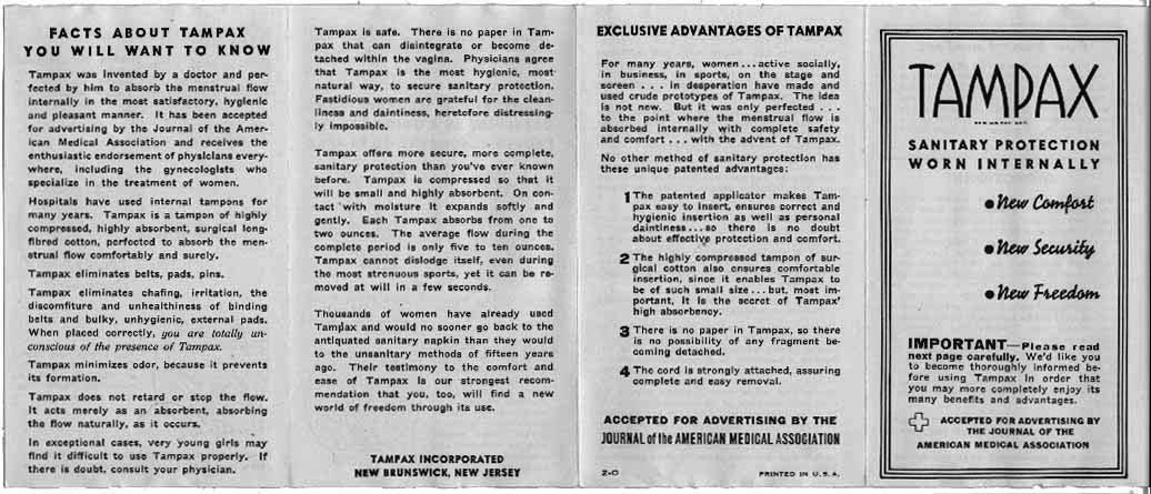 Tampax Instructions 1936 At The Museum Of Menstruation And Womens