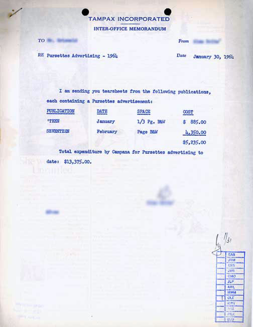 Tampax memo about Pursettes, 1964, at MUM