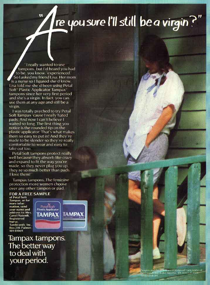 Tampax tampon ad featuring two teenage girls talking on a porch about whether they can use tampons and still be virgins.